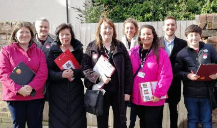 Emily Spurrell campaigning with Labour members