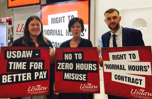 Emily Spurrell supporting Usdaw for workers rights